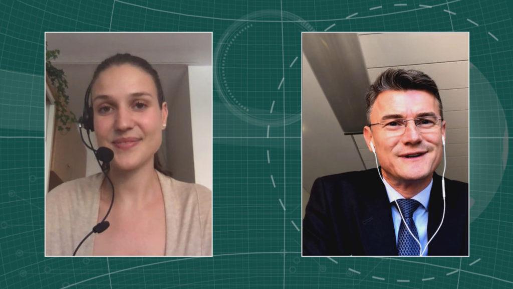 Dr. Markus Rudolph, Geschäftsführer InfectoPharm (Rechts) im Interview mit Maria Huber, Redaktion PharmaBarometer, anlässlich der Preisverleihung © Eurecon Verlag / Kupconcept