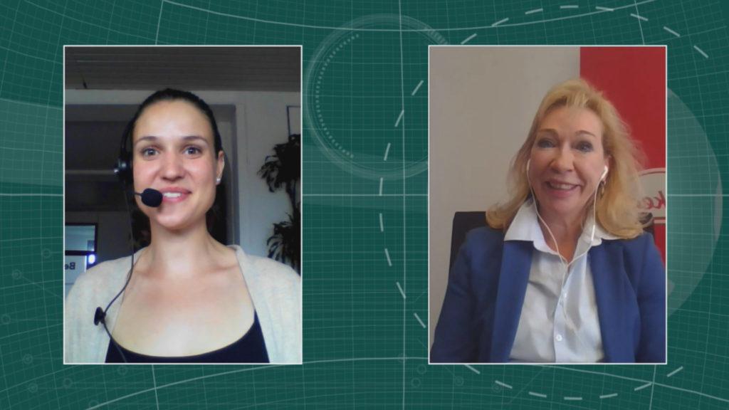 Heidrun Irschik-Hadjieff, Geschäftsführerin Takeda Deutschland (Rechts) im Interview mit Maria Huber, Redaktion PharmaBarometer, anlässlich der Preisverleihung © Eurecon Verlag / Kupconcept