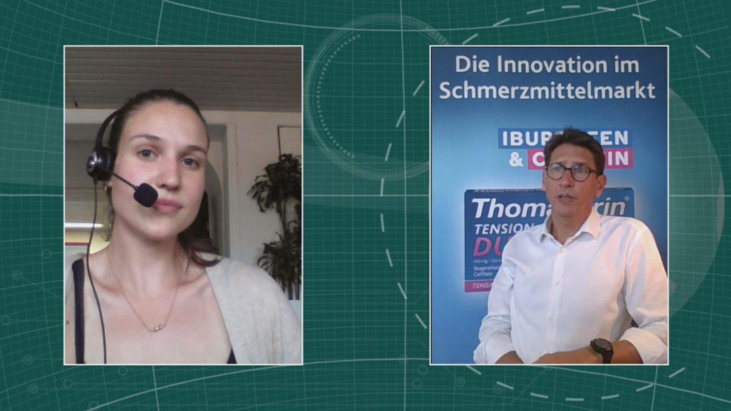 Sven Langeneckert, General Manager bei Sanofi im Interview mit Maria Huber, Redaktion PharmaBarometer, anlässlich der Preisverleihung © Eurecon Verlag / Kupconcept